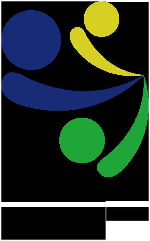 """Logomarca: A logo é formada por três círculos e arcos nas cores verde, azul e amarelo, com diferentes tamanhos. Os arcos se encontram nas pontas. A logo foca a acessibilidade e a inclusão. O desenho final se chama """"Todos alcançam""""."""