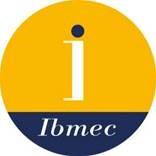"""Desenho de um círculo, nas cores internas amarela e azul,  com a letra """"I"""" no centro, na cor branca e o nome Ibmec abaixo, também na cor branca."""