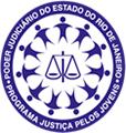 Logomarca do Projeto Justiça pelos Jovens - Imagem circular com uma balança ao centro com crianças ao redor