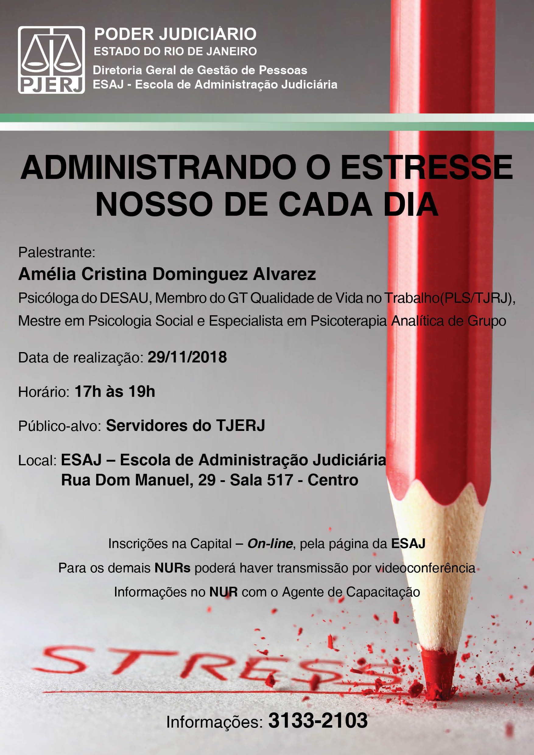 UM LÁPIS VERMELHO DE PONTA PARA BAIXO COM A INSCRIÇÃO DO DIZER STRESS.