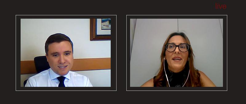O diretor da DGPES, Gabriel Albuquerque em live com a infectologista Danielle Borghi