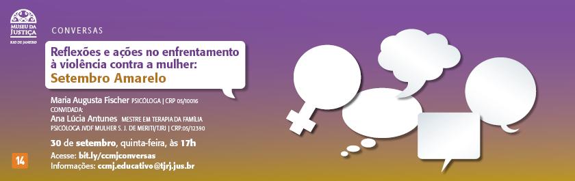 Na quinta-feira (30/9), o programa Conversas: Reflexões e ações no enfrentamento à violência contra a mulher, recebe a convidada Ana Lúcia Antunes, mestre em terapia da família e psicóloga do Juizado da Violência Doméstica e Familiar Contra a Mulher na comarca de São João de Meriti. Esta edição abordará o suicídio ou sua tentativa entre as mulheres em situação de violência. Para participar, acesse: bit.ly/ccmjconversas.