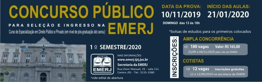 Concurso Público para Seleção e Ingresso na EMERJ – Curso de Especialização em Direito Público e Privado
