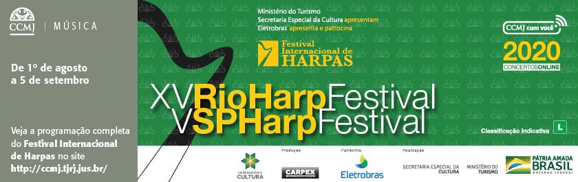 """O Museu da Justiça – Centro Cultural do Poder Judiciário (CCMJ), com a parceria do programa Música no Museu, recebe o """"XV RioHarpFestival"""" e o """"V SPHarpFestival"""", realizados pelo Música no Museu, que há 15 anos dedica um mês à harpa.  Os concertos serão transmitidos virtualmente, de 1 de agosto a 5 de setembro. Para saber a programação completa e maiores informações acesse o nosso portal: http://ccmj.tjrj.jus.br/"""