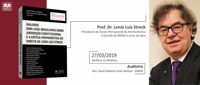 Antes do lançamento do livro, haverá uma apresentação com debates sobre os principais pontos da obra de Lenio Streck